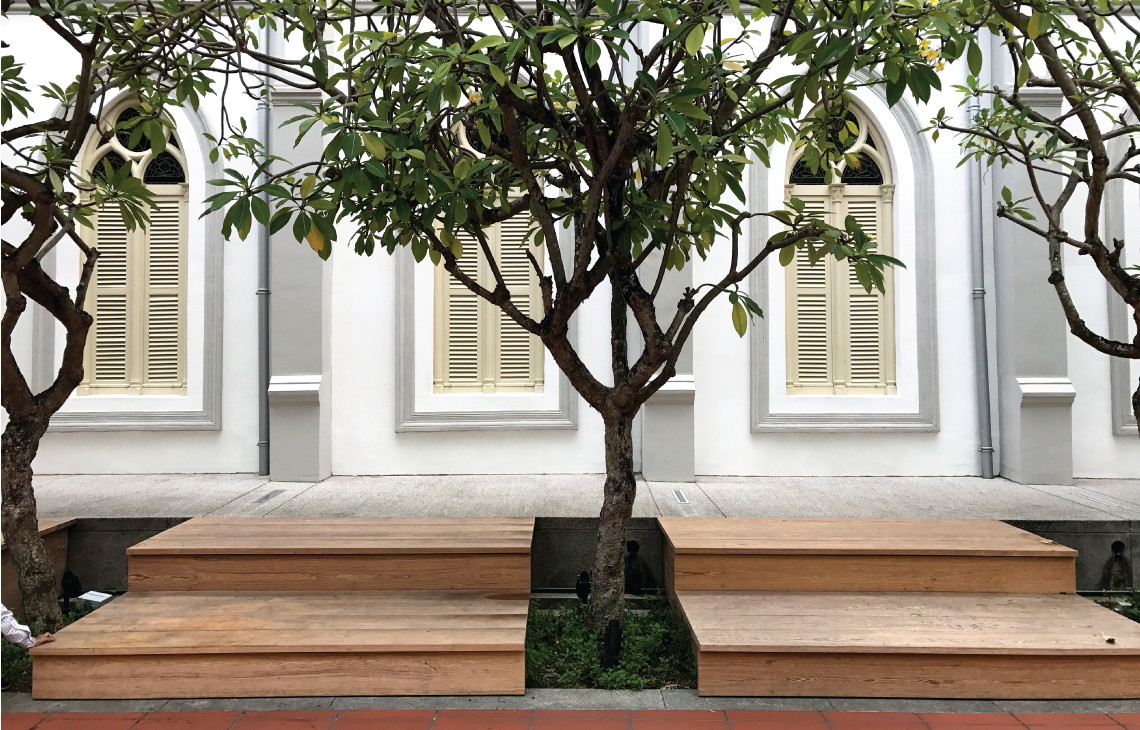 Onewood Timber Outdoor Bench with homogeneous wide planks at Chijmes